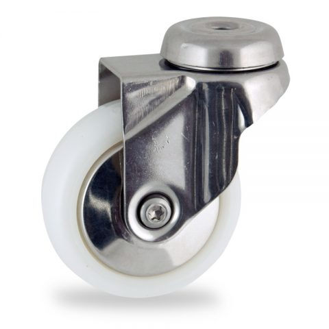 Stainless swivel caster 75mm for light trolleys,wheel made of polyamide,plain bearing.Hollow rivet