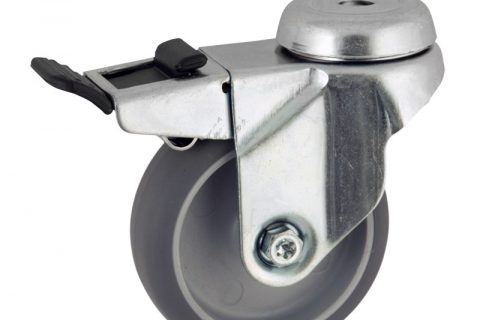 Zinc plated total lock caster 50mm for light trolleys,wheel made of grey rubber,plain bearing.Hollow rivet