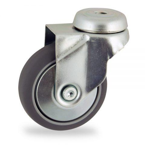 Zinc plated swivel caster 100mm for light trolleys,wheel made of grey rubber,double ball bearings.Hollow rivet