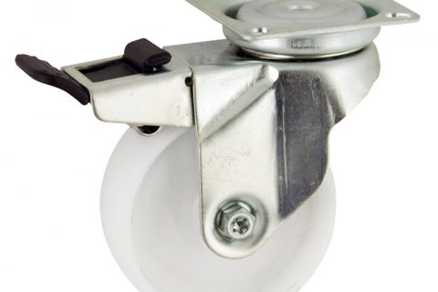 Zinc plated total lock caster 50mm for light trolleys,wheel made of polyamide,plain bearing.Top plate fitting