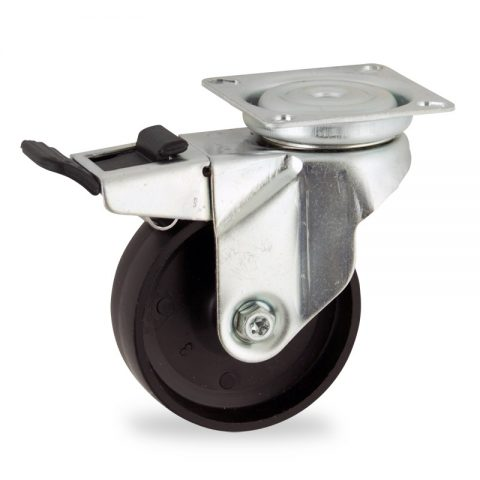 Zinc plated total lock caster 100mm for light trolleys,wheel made of polypropylene,plain bearing.Top plate fitting