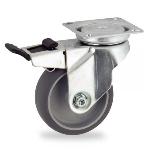 Zinc plated total lock caster 50mm for light trolleys,wheel made of grey rubber,plain bearing.Top plate fitting