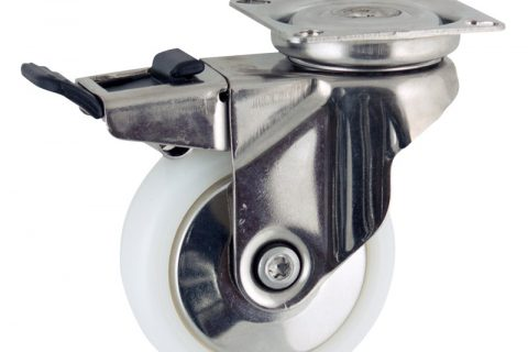 Stainless total lock caster 75mm for light trolleys,wheel made of polyamide,plain bearing.Top plate fitting