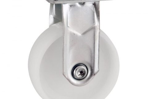 Zinc plated fixed caster 50mm for light trolleys,wheel made of polyamide,plain bearing.Top plate fitting