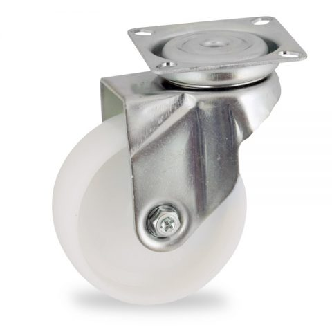 Zinc plated swivel caster 50mm for light trolleys,wheel made of polyamide,plain bearing.Top plate fitting