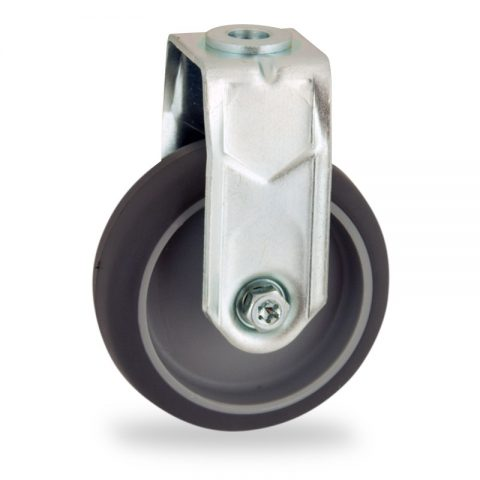 Zinc plated fixed caster 75mm for light trolleys,wheel made of grey rubber,plain bearing.Hollow rivet