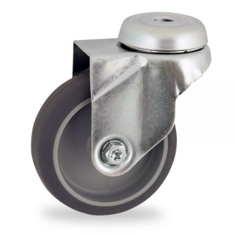Zinc plated swivel caster 100mm for light trolleys,wheel made of grey rubber,plain bearing.Hollow rivet