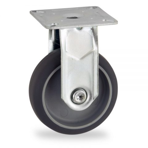 Zinc plated fixed caster 50mm for light trolleys,wheel made of grey rubber,plain bearing.Top plate fitting