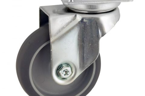 Zinc plated swivel caster 50mm for light trolleys,wheel made of grey rubber,double ball bearings.Top plate fitting