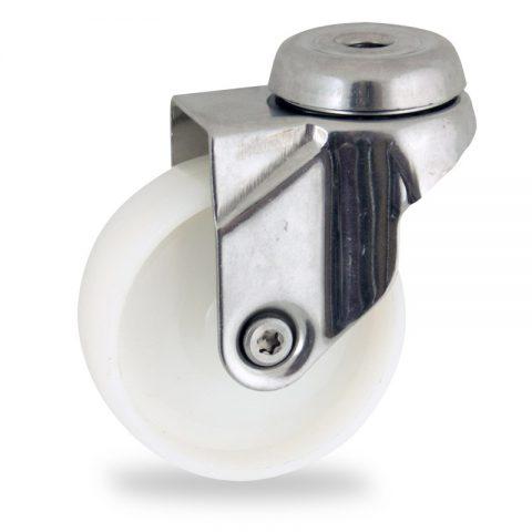 Stainless swivel caster 125mm for light trolleys,wheel made of polyamide,plain bearing.Hollow rivet
