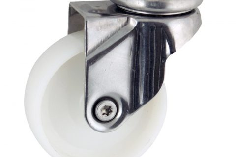 Stainless swivel caster 50mm for light trolleys,wheel made of polyamide,plain bearing.Top plate fitting