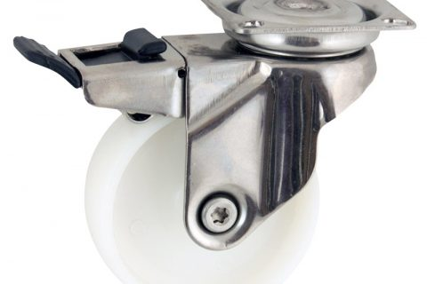 Stainless total lock caster 50mm for light trolleys,wheel made of polyamide,plain bearing.Top plate fitting