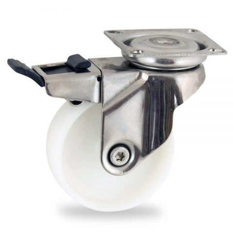 Stainless total lock caster 100mm for light trolleys,wheel made of polyamide,plain bearing.Top plate fitting