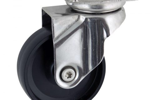 Stainless swivel caster 125mm for light trolleys,wheel made of polypropylene,plain bearing.Top plate fitting