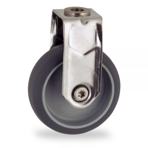 Stainless fixed caster 50mm for light trolleys,wheel made of grey rubber,plain bearing.Hollow rivet