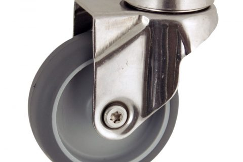 Stainless swivel caster 50mm for light trolleys,wheel made of grey rubber,plain bearing.Hollow rivet