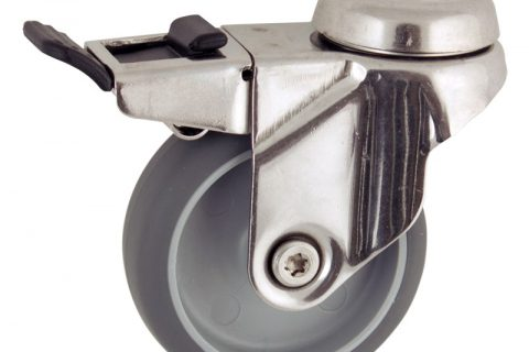 Stainless total lock caster 125mm for light trolleys,wheel made of grey rubber,double ball bearings.Hollow rivet