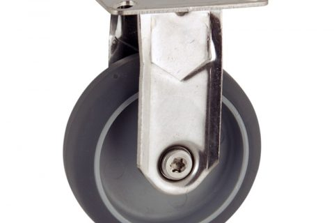 Stainless fixed caster 50mm for light trolleys,wheel made of grey rubber,plain bearing.Top plate fitting