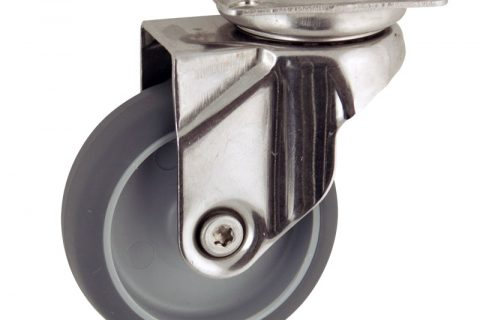 Stainless swivel caster 100mm for light trolleys,wheel made of grey rubber,double ball bearings.Top plate fitting