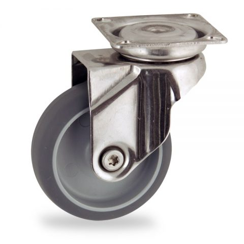 Stainless swivel caster 50mm for light trolleys,wheel made of grey rubber,plain bearing.Top plate fitting