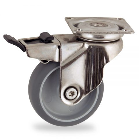 Stainless total lock caster 75mm for light trolleys,wheel made of grey rubber,plain bearing.Top plate fitting