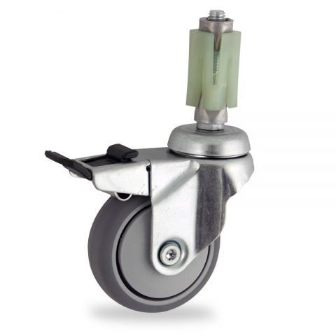 Zinc plated total lock caster 50mm for light trolleys,wheel made of grey rubber,precision bearing.Fitting with square expander socket 21/24