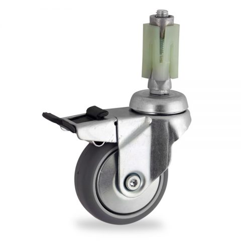Zinc plated total lock caster 75mm for light trolleys,wheel made of grey rubber,double ball bearings.Fitting with square expander socket 27/31