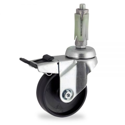 Zinc plated total lock caster 125mm for light trolleys,wheel made of polypropylene,plain bearing.Fitting with round expander socket 23/26
