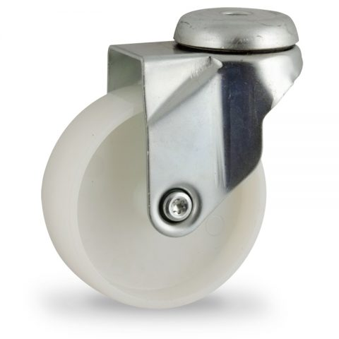 Zinc plated swivel caster 75mm for light trolleys,wheel made of polyamide,plain bearing.Hollow rivet