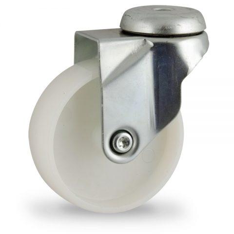 Zinc plated swivel caster 75mm for light trolleys,wheel made of polyamide,plain bearing.Hollow rivet