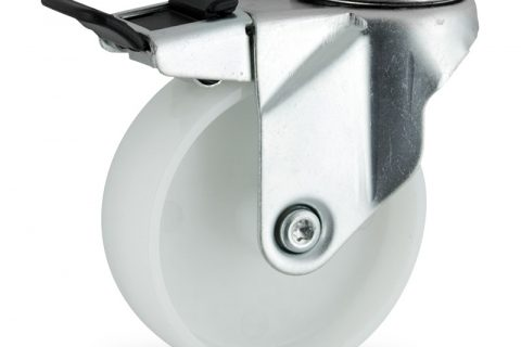 Zinc plated total lock caster 150mm for light trolleys,wheel made of polyamide,plain bearing.Hollow rivet