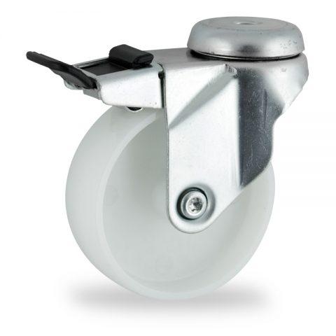 Zinc plated total lock caster 150mm for light trolleys,wheel made of polyamide,plain bearing.Hollow rivet