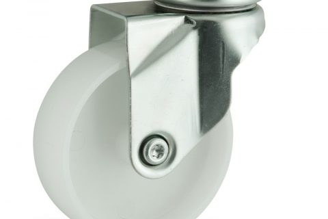 Zinc plated swivel caster 75mm for light trolleys,wheel made of polyamide,plain bearing.Top plate fitting