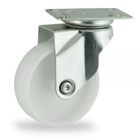 Zinc plated swivel caster 125mm for light trolleys,wheel made of polyamide,plain bearing.Top plate fitting