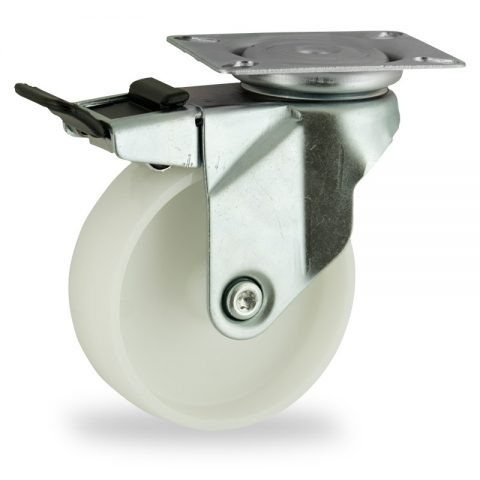 Zinc plated total lock caster 150mm for light trolleys,wheel made of polyamide,plain bearing.Top plate fitting