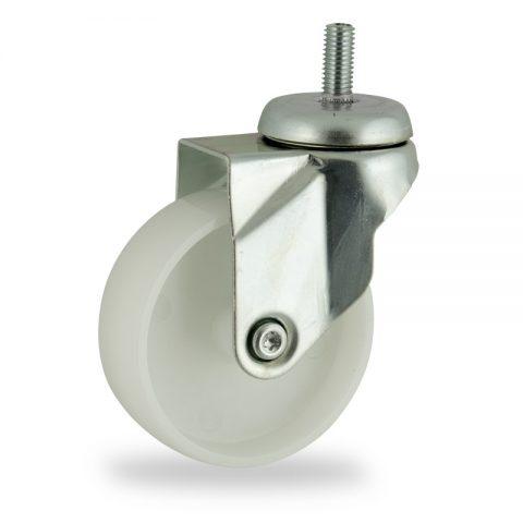 Zinc plated swivel caster 100mm for light trolleys,wheel made of polyamide,plain bearing.Threaded stem fitting