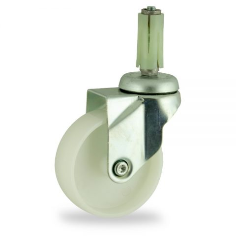 Zinc plated swivel caster 100mm for light trolleys,wheel made of polyamide,plain bearing.Fitting with round expander socket 23/26
