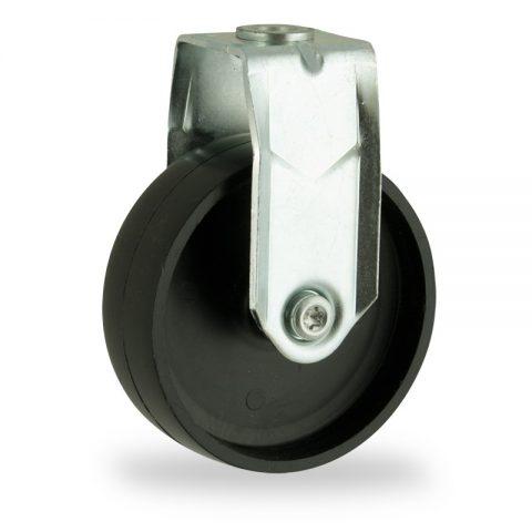 Zinc plated fixed caster 75mm for light trolleys,wheel made of polypropylene,plain bearing.Hollow rivet