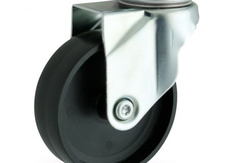 Zinc plated swivel caster 150mm for light trolleys,wheel made of polypropylene,plain bearing.Top plate fitting