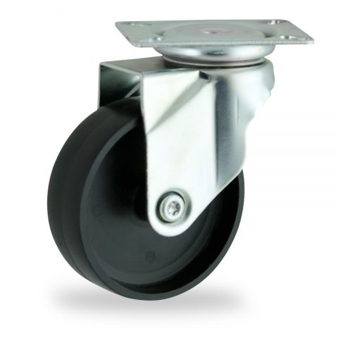 Zinc plated swivel caster 150mm for light trolleys,wheel made of polypropylene,plain bearing.Top plate fitting