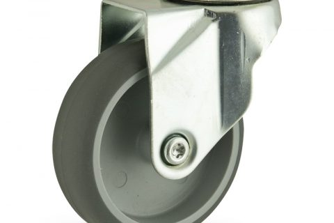 Zinc plated swivel caster 75mm for light trolleys,wheel made of grey rubber,double ball bearings.Hollow rivet
