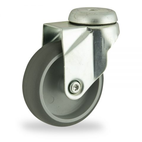 Zinc plated swivel caster 100mm for light trolleys,wheel made of grey rubber,plain bearing.Hollow rivet
