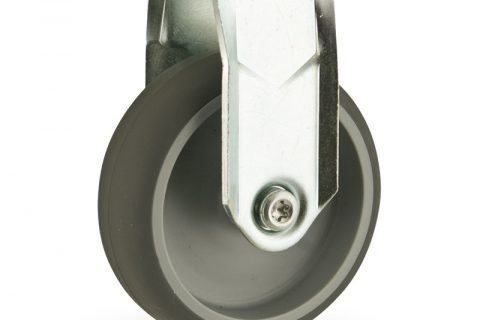 Zinc plated fixed caster 125mm for light trolleys,wheel made of grey rubber,plain bearing.Hollow rivet