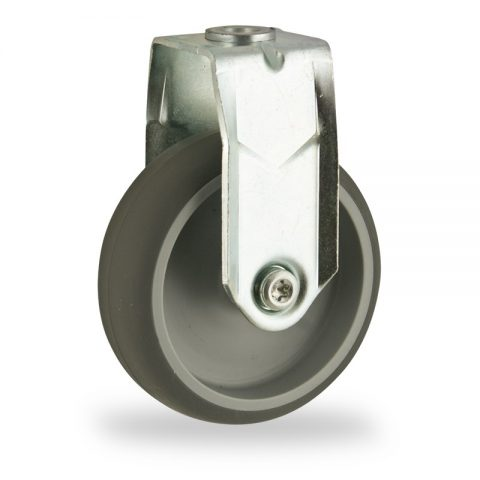Zinc plated fixed caster 100mm for light trolleys,wheel made of grey rubber,plain bearing.Hollow rivet