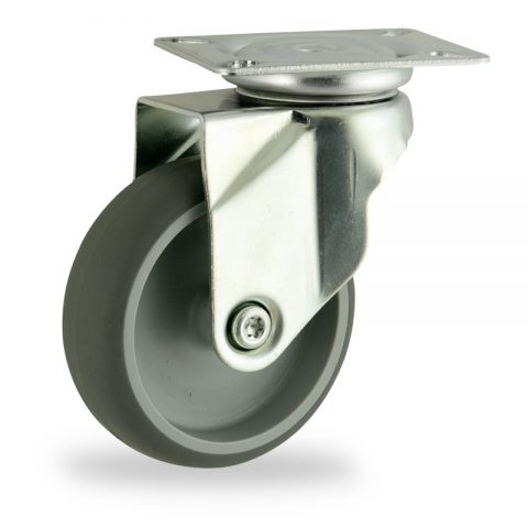 Zinc plated swivel caster 125mm for light trolleys,wheel made of grey rubber,plain bearing.Top plate fitting