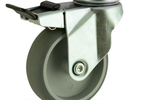 Zinc plated total lock caster 150mm for light trolleys,wheel made of grey rubber,plain bearing.Top plate fitting