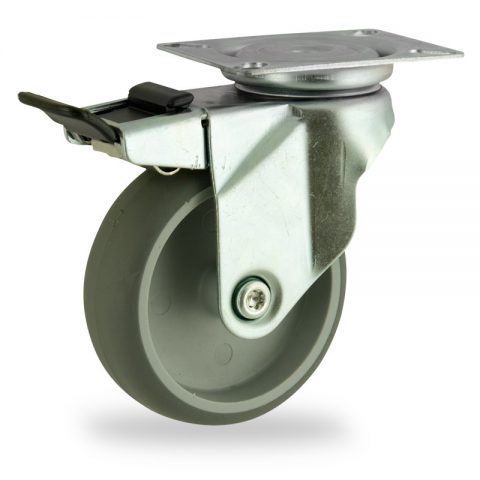 Zinc plated total lock caster 75mm for light trolleys,wheel made of grey rubber,double ball bearings.Top plate fitting