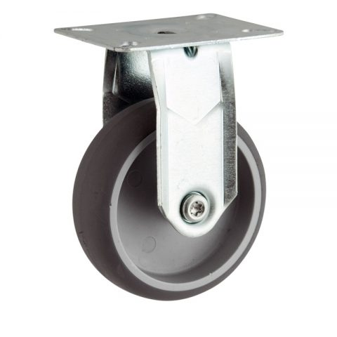 Zinc plated fixed caster 100mm for light trolleys,wheel made of grey rubber,plain bearing.Top plate fitting