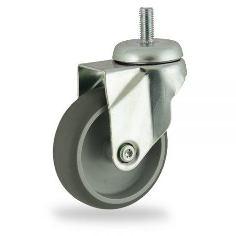 Zinc plated swivel caster 150mm for light trolleys,wheel made of grey rubber,plain bearing.Threaded stem fitting