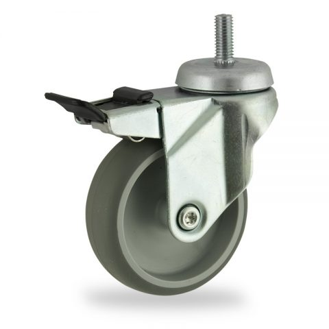 Zinc plated total lock caster 100mm for light trolleys,wheel made of grey rubber,plain bearing.Threaded stem fitting